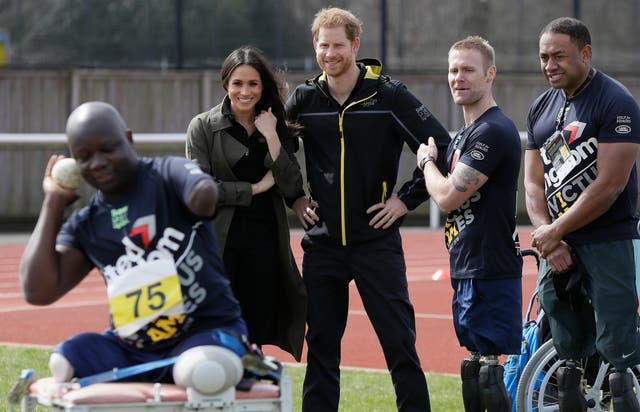Prince Harry and Meghan Markle meet participants as they attend the UK team trials for the Invictus Games Sydney 2018 at the University of Bath