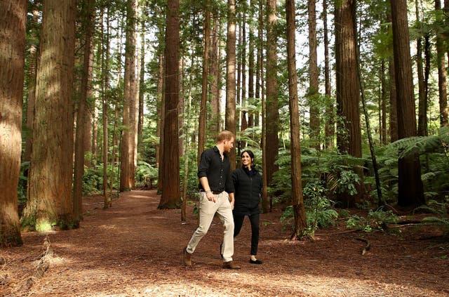 Prince Harry and his wife Meghan visit Redwoods Tree Walk in Rotorua
