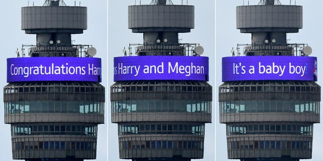 """A congratulatory banner message circling the BT Tower reading """"Congratulations Harry and Meghan It's a Baby Boy!"""""""