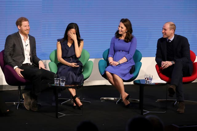 Prince Harry, Meghan Markle, Catherine, Duchess of Cambridge and Prince William at the first annual Royal Foundation Forum in London. Under the theme 'Making a Difference Together', the event showcased the programmes run or initiated by The Royal Foundation