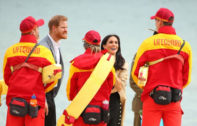 The Duke and Duchess of Sussex meet with lifeguards at South Melbourne Beach. BeachPatrol is a network of volunteers who are passionate about keeping Melbourne's beaches and foreshores clear of litter to reduce the negative impact of litter on the marine environment and food chain, and provide a safe environment for the public to enjoy their local beach