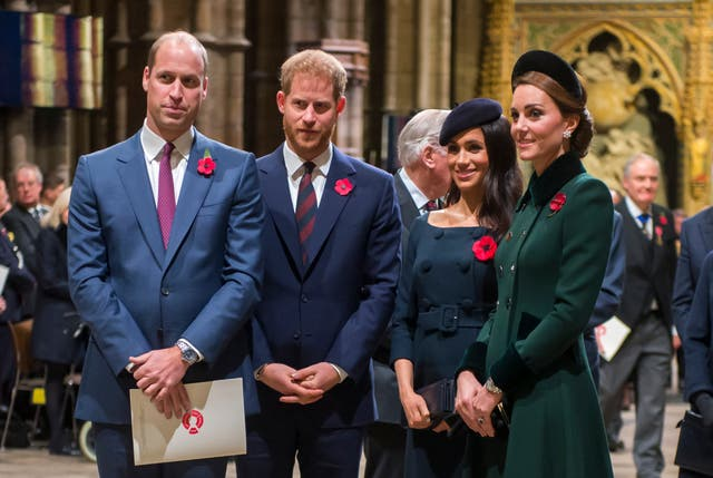 Prince William, Duke of Cambridge and Catherine, Duchess of Cambridge, Prince Harry, Duke of Sussex and Meghan, Duchess of Sussex at a service marking the centenary of WW1 armistice at Westminster Abbey