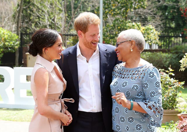 Prince Harry and Meghan meet Graca Machel, widow of the late Nelson Mandela in Johannesburg, South Africa. The Duke last met with Mrs Machel during his visit to South Africa in 2015