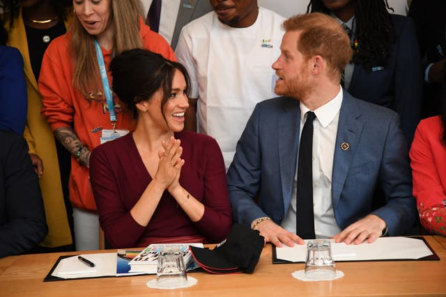 Meghan and Prince Harry attend a roundtable discussion on gender equality with The Queens Commonwealth Trust (QCT) and One Young World at Windsor Castle