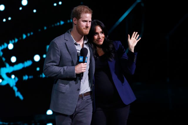 Prince Harry and Meghan speak on stage during WE Day UK 2019 at The SSE Arena in London