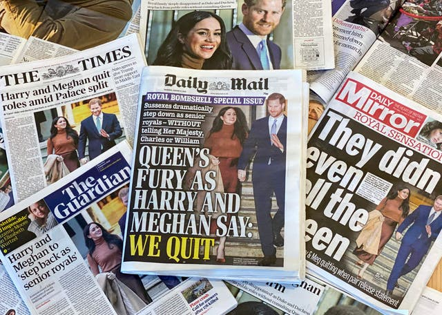 """Front page headlines, from UK daily papers, reporting on the news that the Duke and Duchess of Sussex, plan to step back as """"senior"""" members of the Royal Family"""