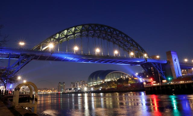 Tyne Bridge lit up in blue to support the NHS