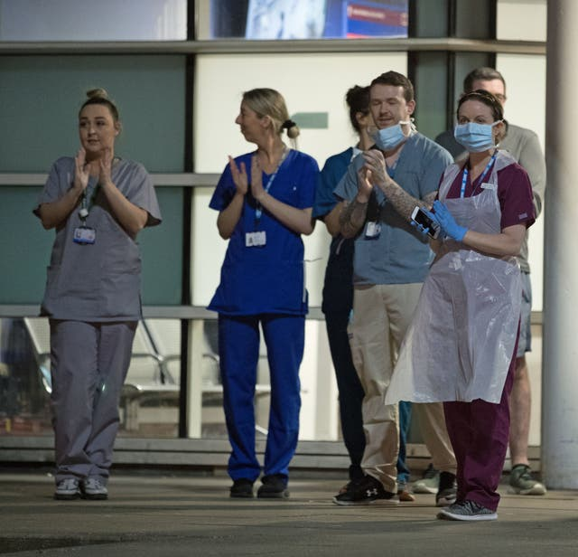 Staff from the Royal Liverpool University Hospital join in a national applause