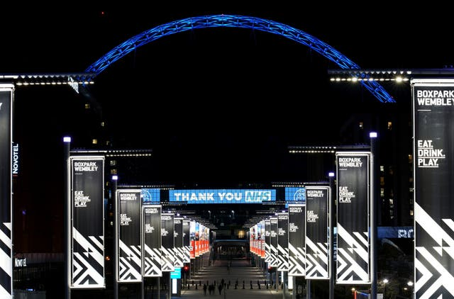 Wembley Arch in London is lit up in blue in a gesture of thanks to the hardworking NHS staff