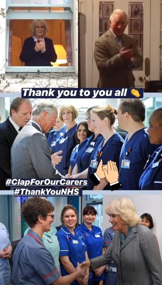Duchess of Cornwall and the Prince of Wales joining in the national applause for the NHS workers battling coronavirus, coupled with photos from previous visits to NHS facilities