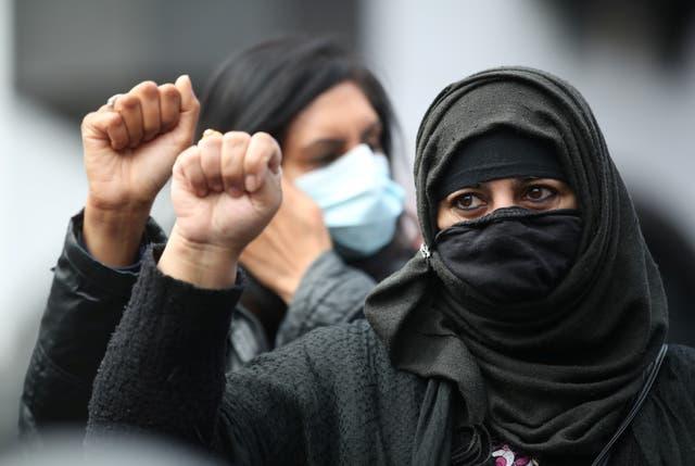 Demonstrators in Leicester