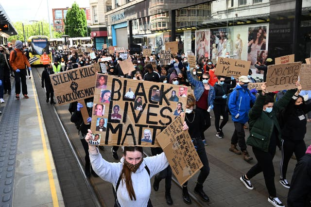 A protest march in Manchester