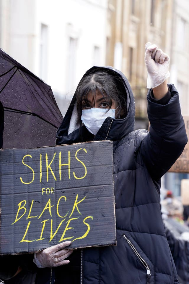 Demonstrators stage a Black Lives Matter Protest in Leicester city centre
