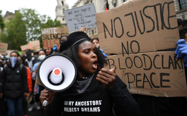 A 'Black Lives Matter' (BLM) protest at Parliament Square