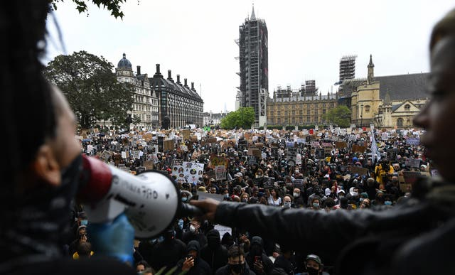 A protest at Parliament Square in London