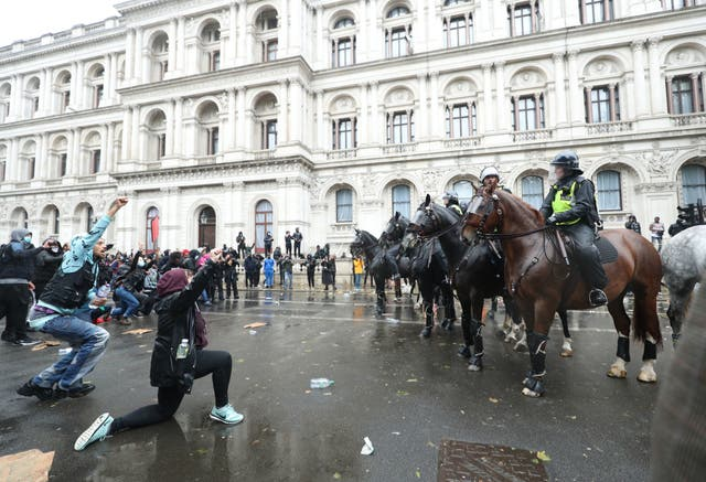Police on horseback in Whitehall following a Black Lives Matter protest rally in Parliament Square, London