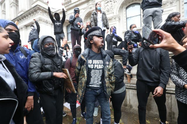 Protesters in Whitehall following a Black Lives Matter protest rally in Parliament Square, London