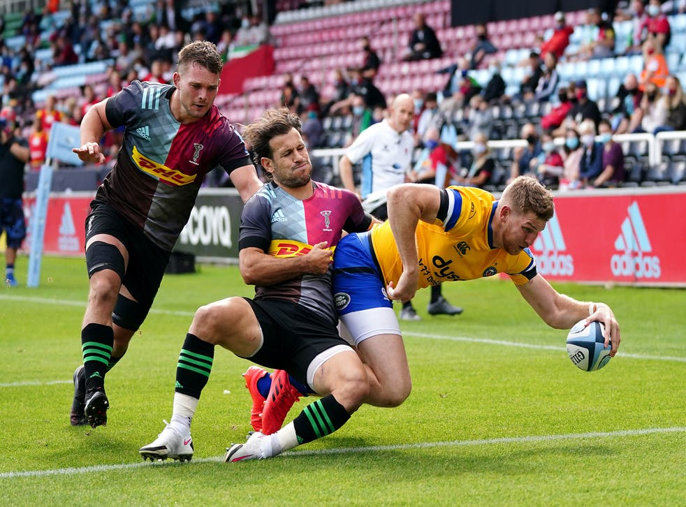 Ruaridh McConnochie scores his second try for Bath in the win over Harlequins