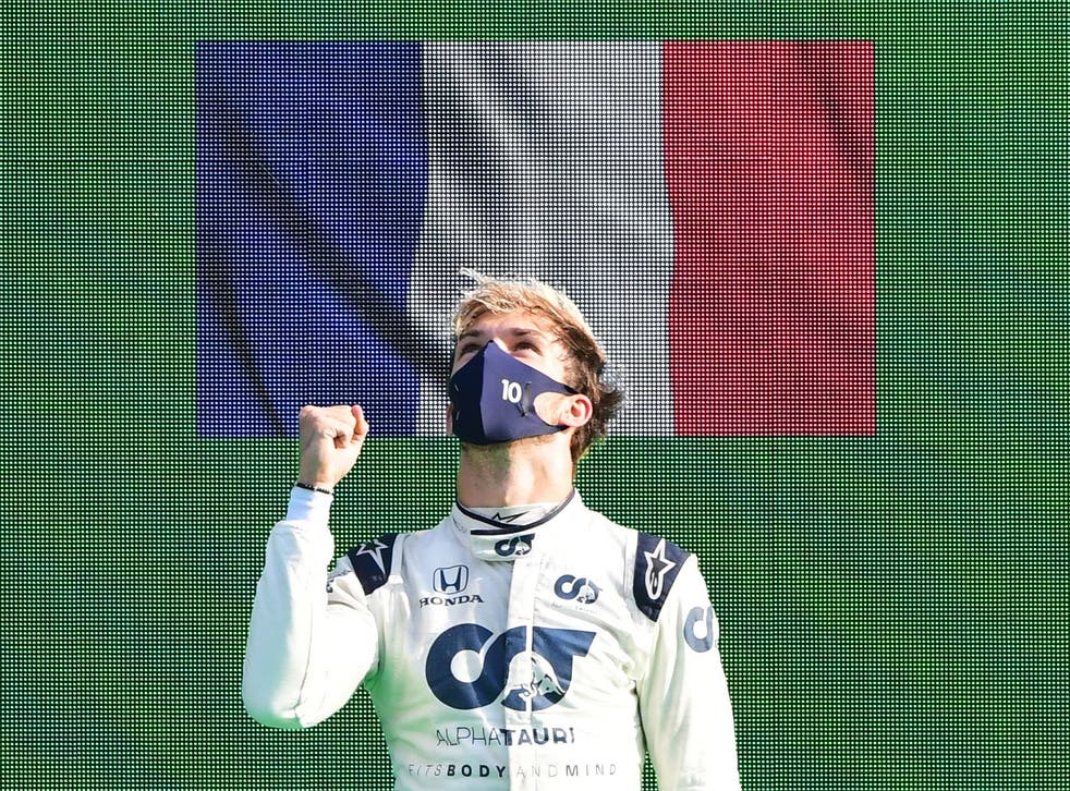 Pierre Gasly celebrates winning the Italian Grand Prix