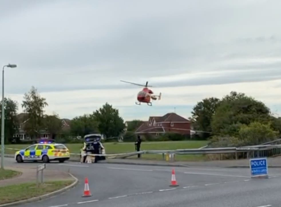 """An air ambulance was seen leaving the """"serious incident"""" at Grange Farm in Kesgrave, where a Year 11 student is said to have been involved in a shooting"""