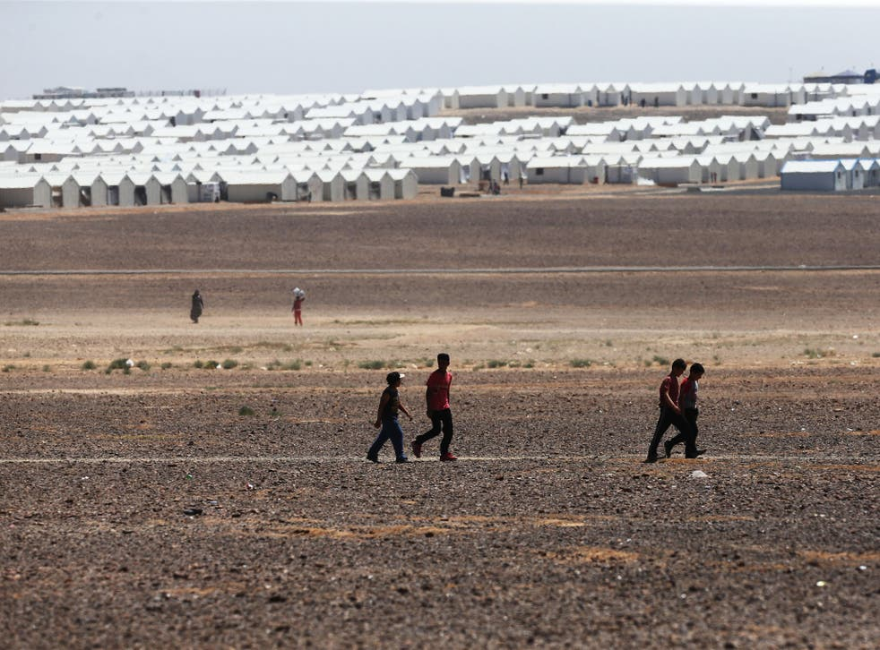 Azraq refugee camp in Jordan in 2015, located in the desert 110 kilometers to the east of Amman and not far from the Syrian border