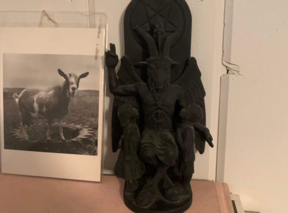 A Baphomet figurine found at the house