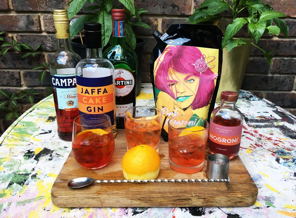 Three of a kind: Jaffa cake negroni, Asterley Bros' pink negroni and the alcohol-free NOgroni