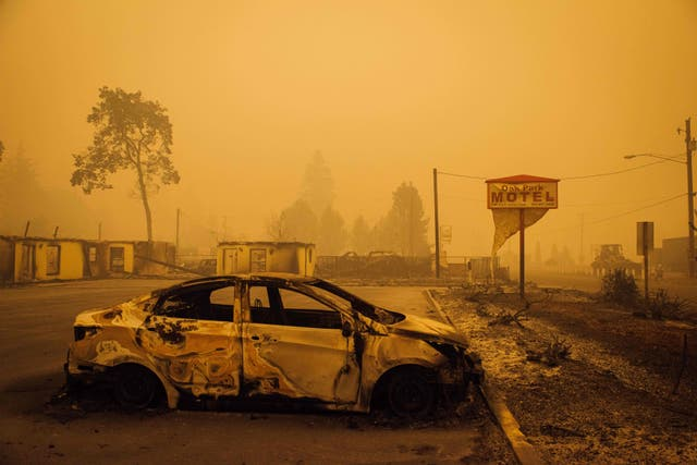 A car charred by the in Santiam Fire in Gates, Oregon