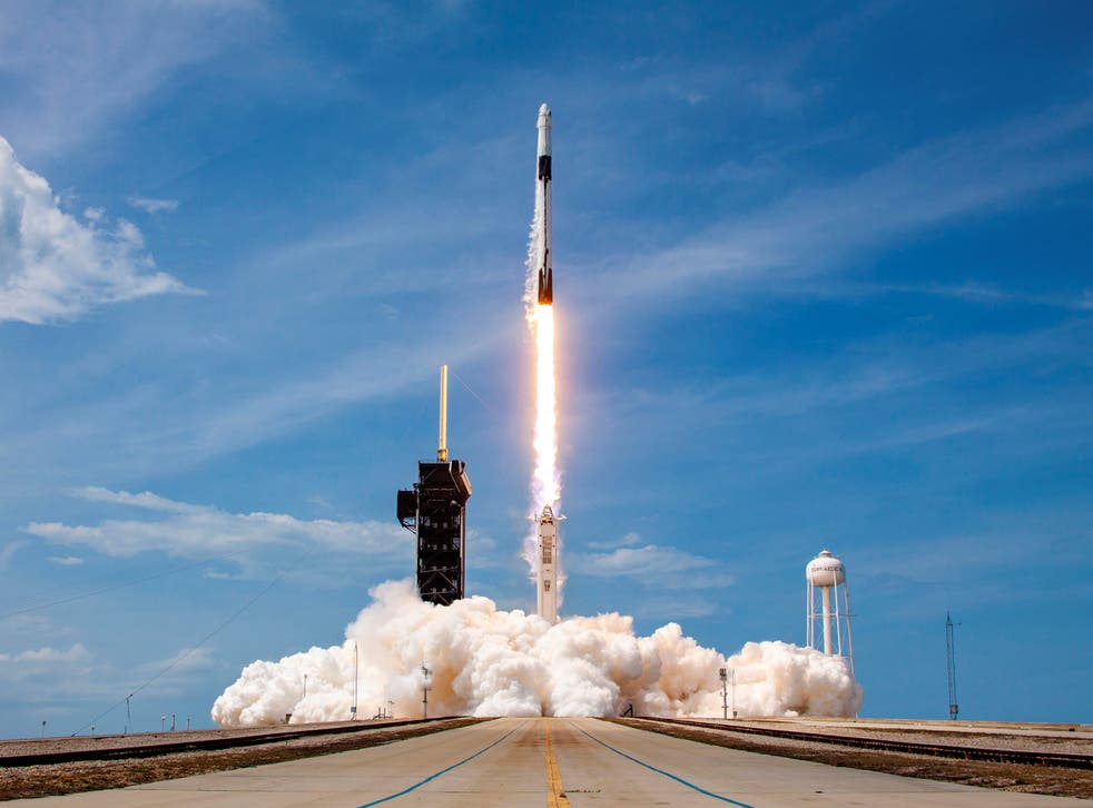 A SpaceX Falcon 9 rocket carrying the Crew Dragon spacecraft launches from Cape Canaveral, Florida on 30 May, 2020