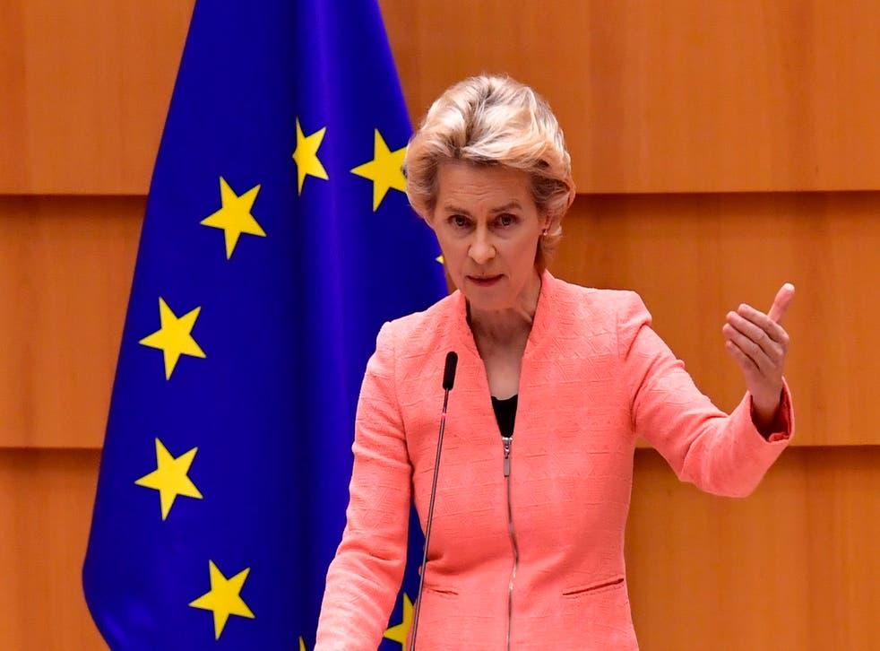 Ursula von der Leyen speaking at the European Parliament