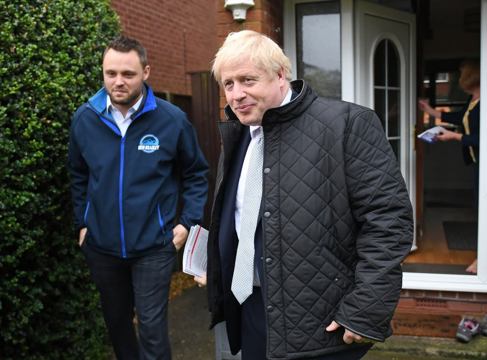 Ben Bradley campaigning in Mansfield with Boris Johnson in 2019
