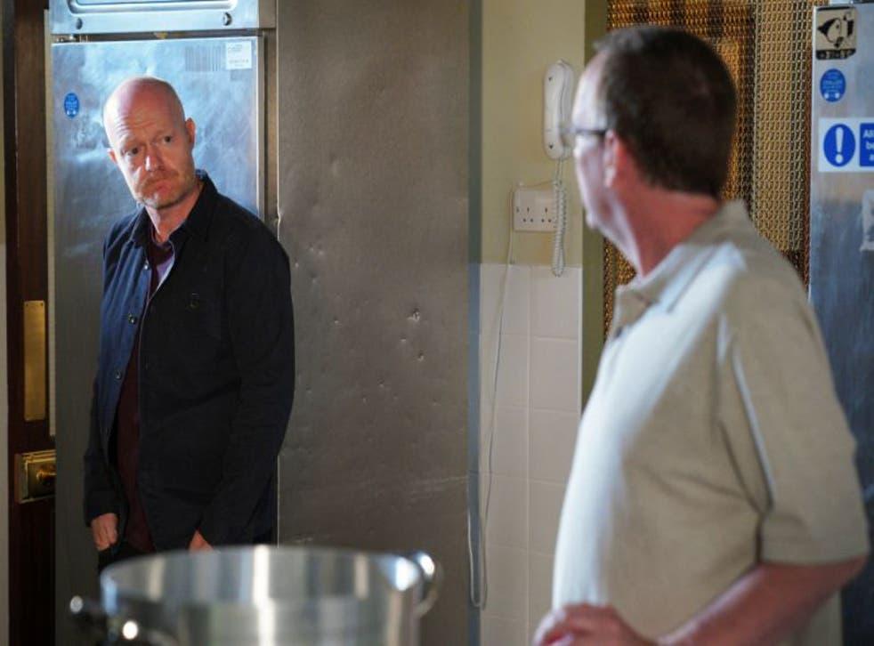 Max Branning (Jake Wood) and Ian Beale (Adam Woodyatt) in a scene from EastEnders