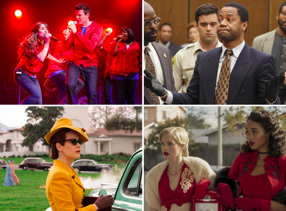 Clockwise from top left: 'Glee', 'The People v OJ Simpson', 'Ratched' and 'Hollywood'