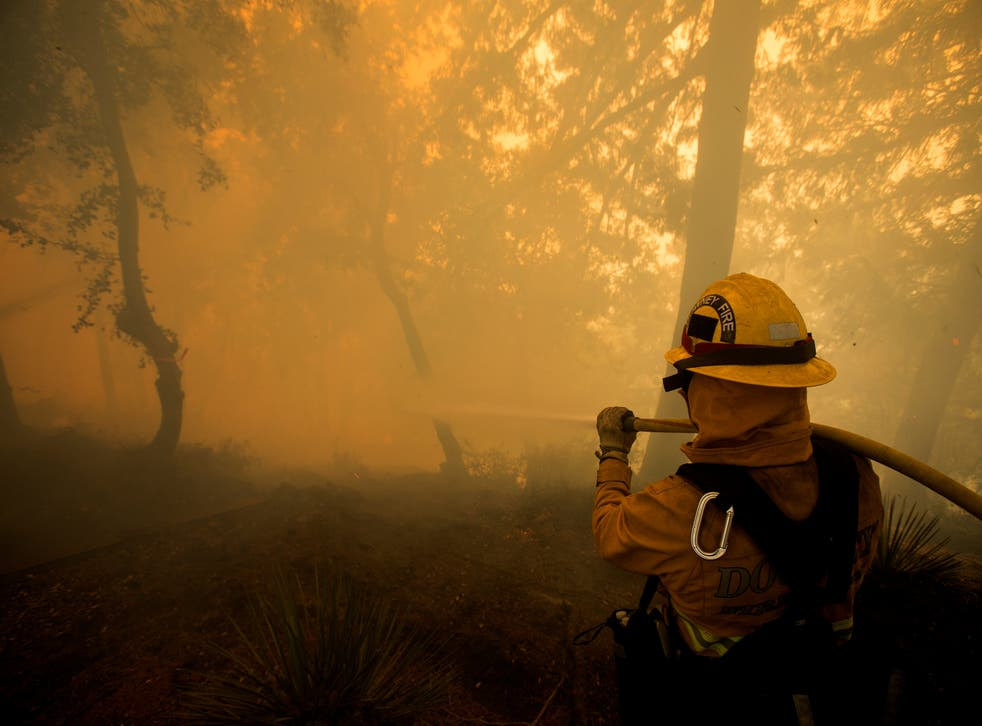 A firefighter battles a wildfire near a structure while defending the Mount Wilson observatory