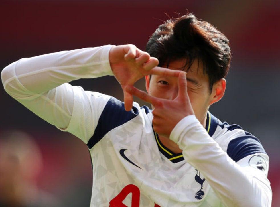 Son celebrates his second vs Southampton