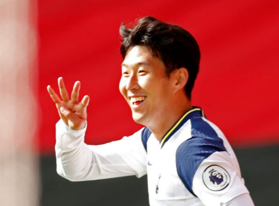 Son celebrates his fourth goal for Spurs