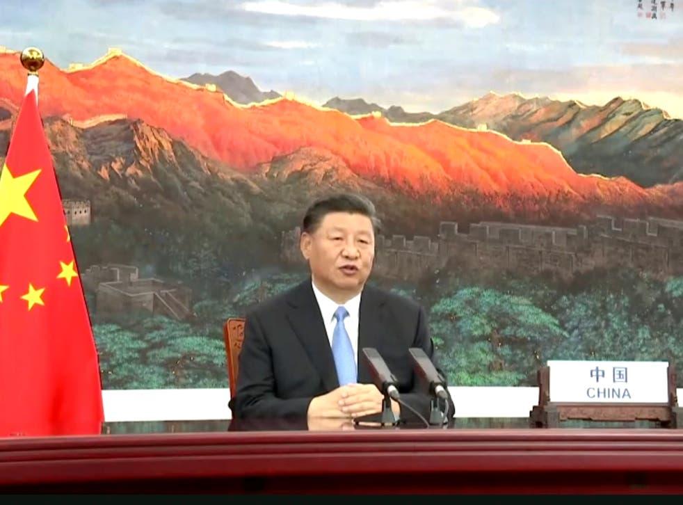 En esta imagen tomada de un video de UNTV, el presidente chino, Xi Jinping, habla en un mensaje pregrabado durante el 75 ° período de sesiones de la Asamblea General de las Naciones Unidas el martes.
