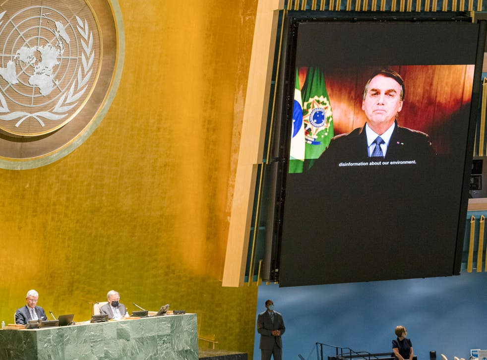 President of Brazil Jair Bolsonaro speaks during the 75th annual U.N. General Assembly, which is being held mostly virtually due to the coronavirus pandemic