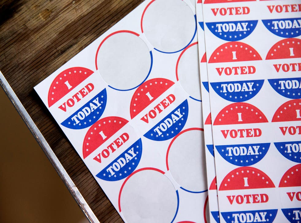 "Stickers saying ""I Voted Today"" are given out to voters in the Democratic primary in Philadelphia, Pennsylvania on 2 June 2020."