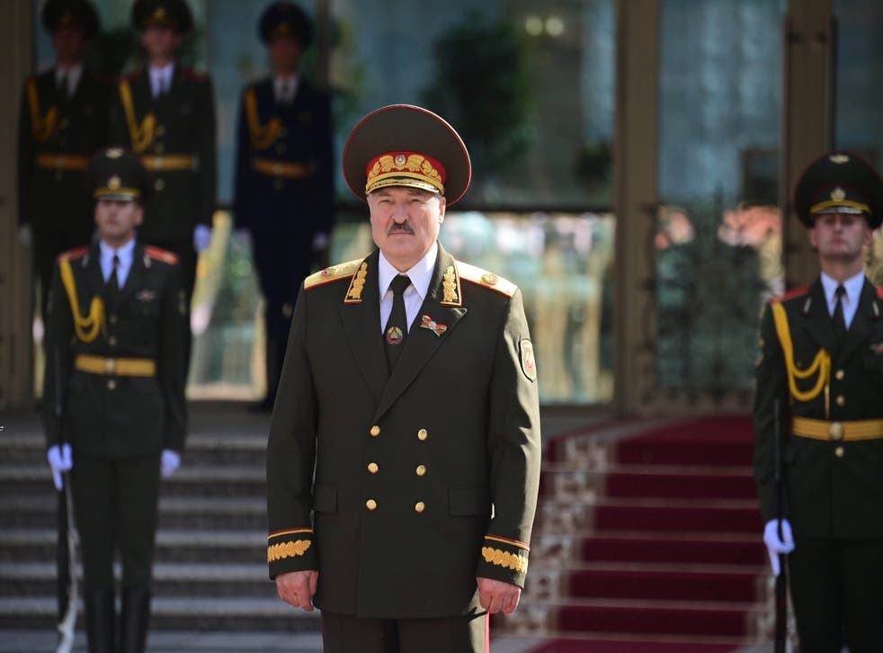 Belarusian president Alexander Lukashenko stands to attention at his inauguration ceremony in Minsk on Wednesday