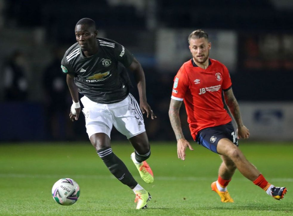 Eric Bailly in action against Luton Town