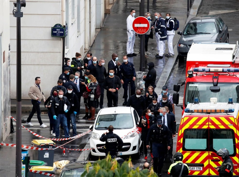 Charlie Hebdo Two Stabbed Outside Magazine S Former Offices In Paris After Cartoons Republished The Independent