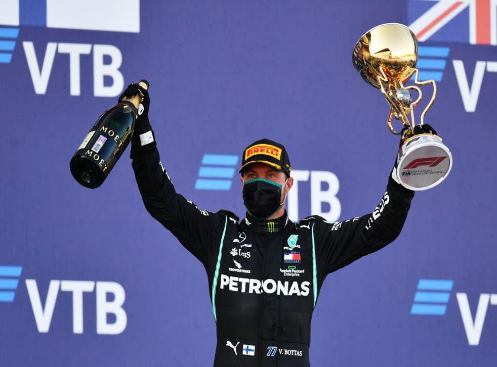 Valtteri Bottas celebra su victoria en el GP de Rusia.