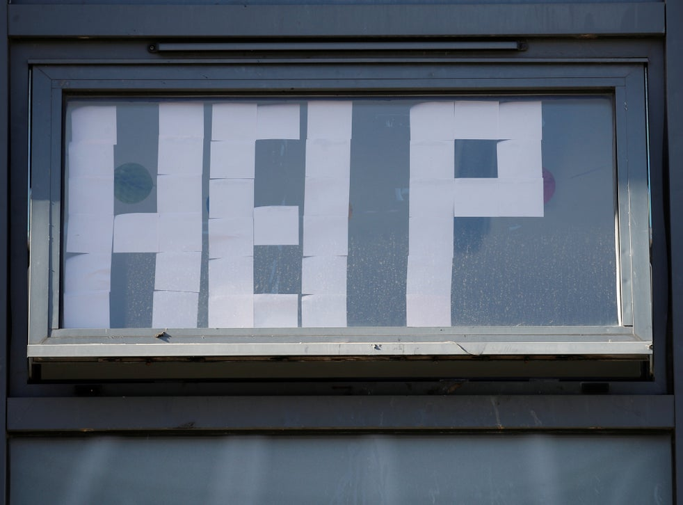 A 'Help' message is displayed at locked down student accommodation in Manchester