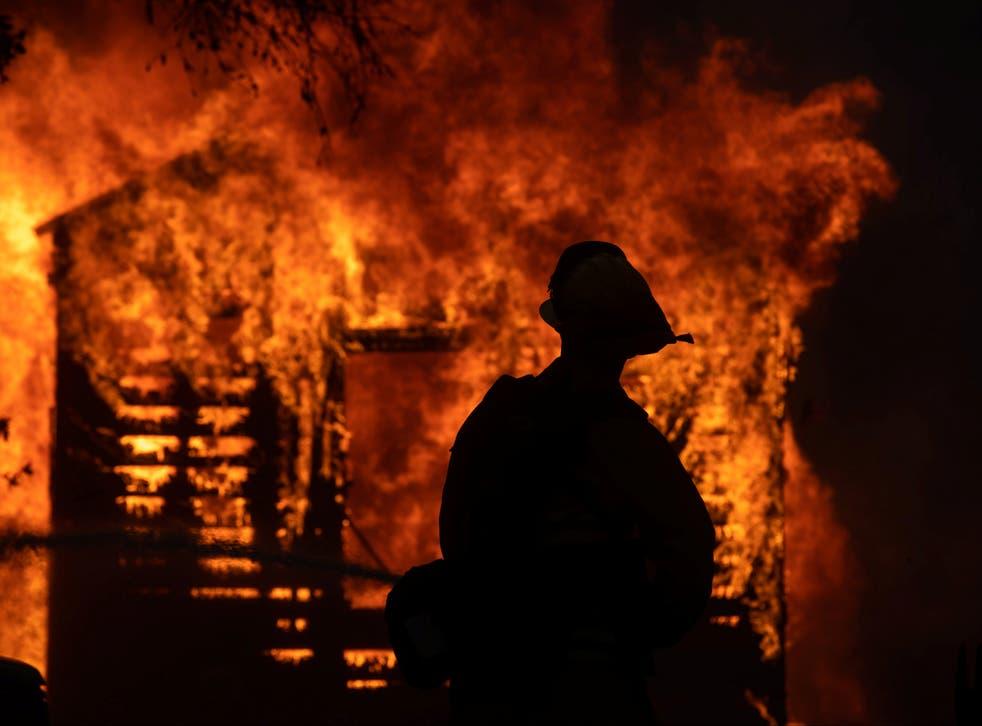 A firefighter looks on at the Zogg WildFire near Igo, California
