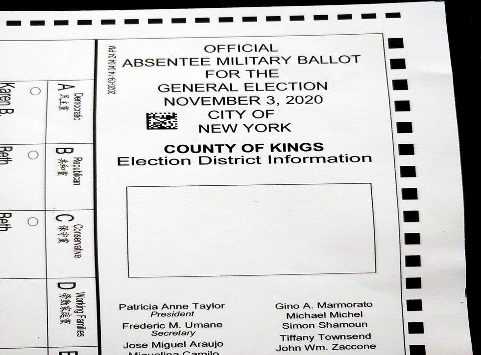 Election 2020 New York Absentee Ballots