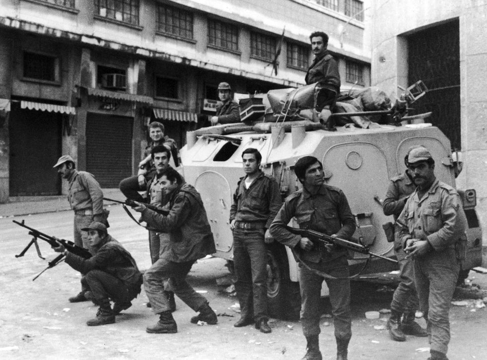 Security forces in Beirut during the Civil War in Lebanon, December 1975