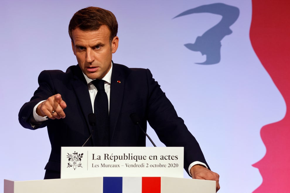 French President Emmanuel Macron delivers a speech to present his strategy to fight separatism(Ludovic Marin / POOL via AP)