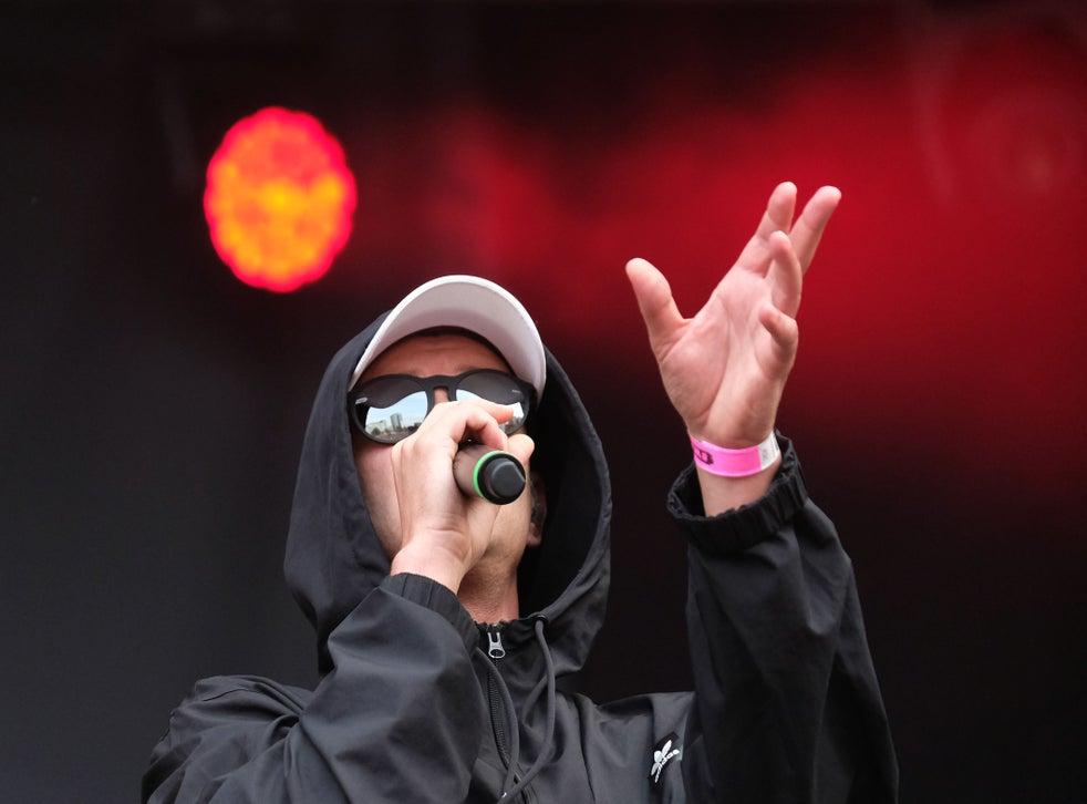 Rapper Trettmann performs on stage