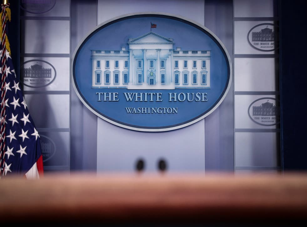 <p>The White House press briefing room.</p>